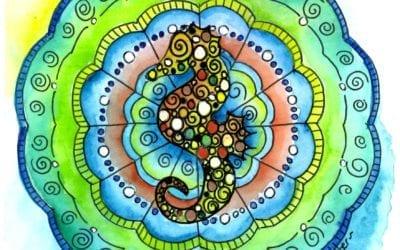 Seahorse Mandala Watercolour Timelapse