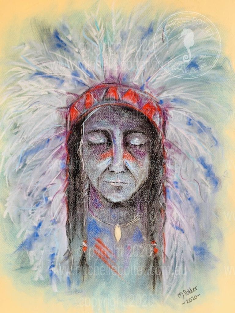 American_Indian_Pastel_Intuitive_Art_Michelle_Potter_Artist