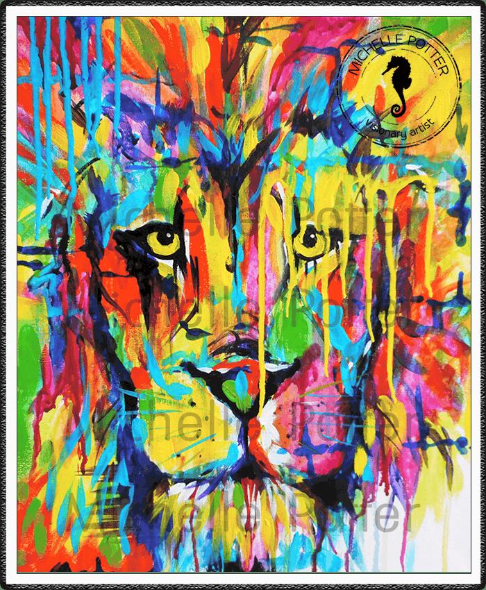 Commissioned_Art_Paints_Michelle_Potter_Lion_Face_Colour_Large