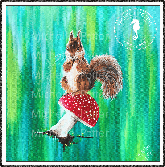 Commissioned_Art_Paints_Michelle_Potter_Squirrel_On_Toadstool_Large