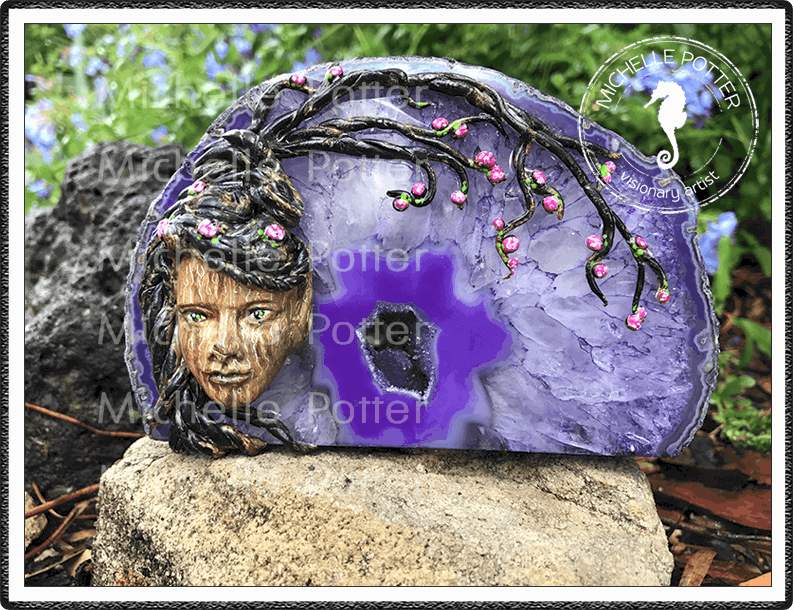 Crystal_Creations_Polymer_Clay_Elvina_Friend_Of_The_Elves_Purple_Agate_Geode_Cherry_Blossom_Large