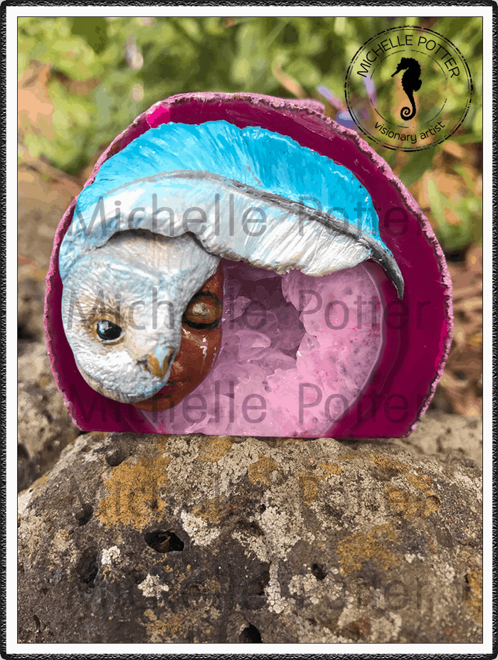Crystal_Creations_Polymer_Clay_Shanna_Owl_Pink_Agate_Geode_Small_Wise_Large