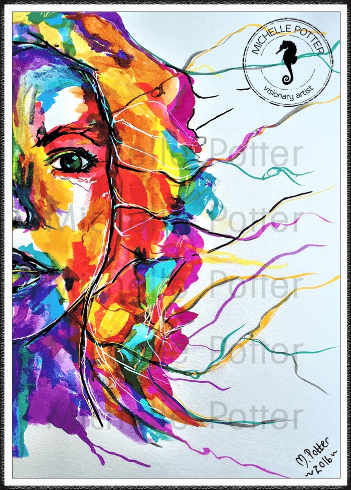 Intuitive_Art_Paints_Michelle_Potter_Woman_Face_Coloured_Large