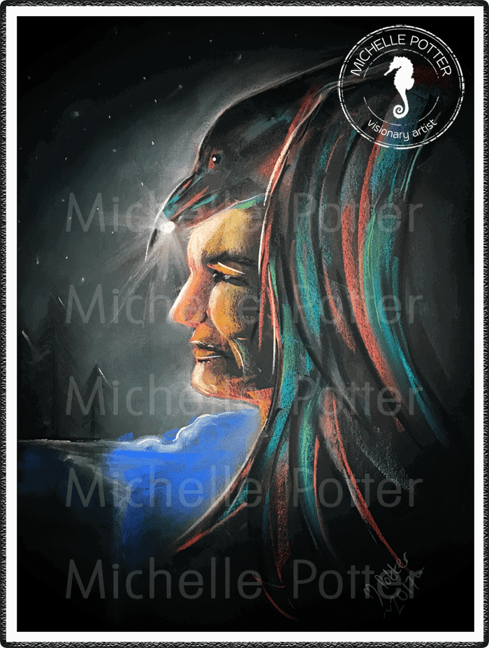 Intuitive_Art_Pastels_Michelle_Potter_Indian_Crow_Large