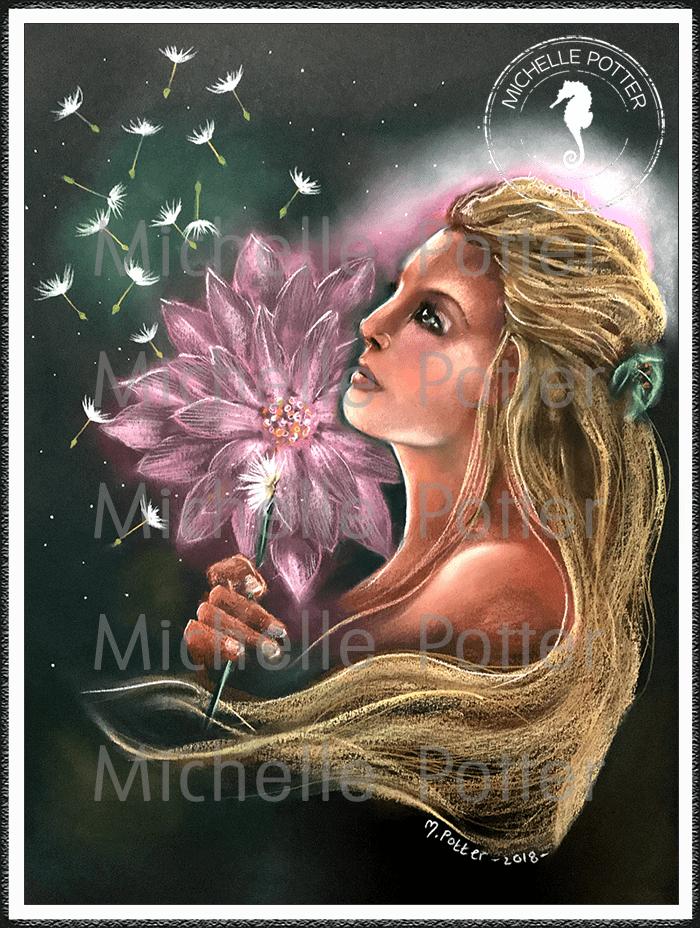 Spirit_Guide_Art_Michelle_Potter_Alejandra_Dandelions_Lotus_Large