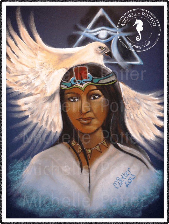 Spirit_Guide_Art_Michelle_Potter_Aztec_Woman_White_Eagle_Large