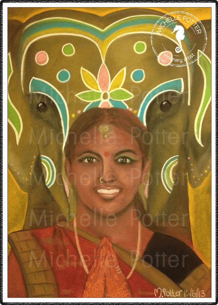 Spirit_Guide_Art_Michelle_Potter_Elephant_Indian_Woman_Large