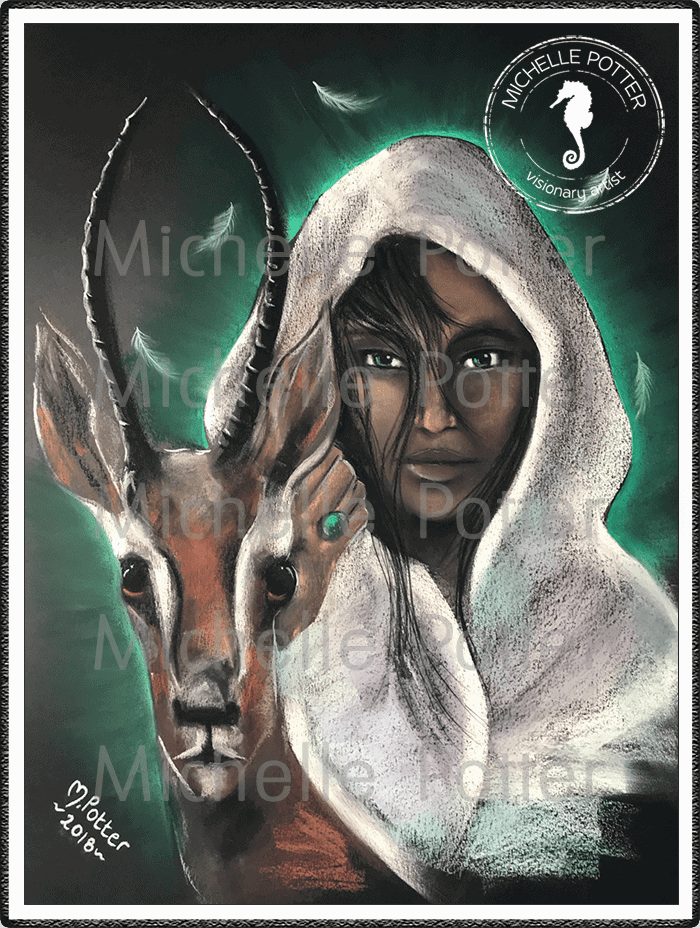 Spirit_Guide_Art_Michelle_Potter_Gazelle_Priestess_Large
