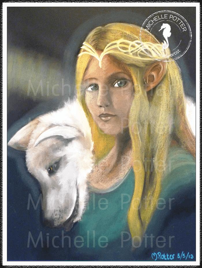 Spirit_Guide_Art_Michelle_Potter_Golden_Lady_White_Dog_Large