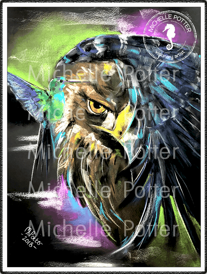 Spirit_Guide_Art_Michelle_Potter_Hummingbird_Eagle_Raven_Totems_Large