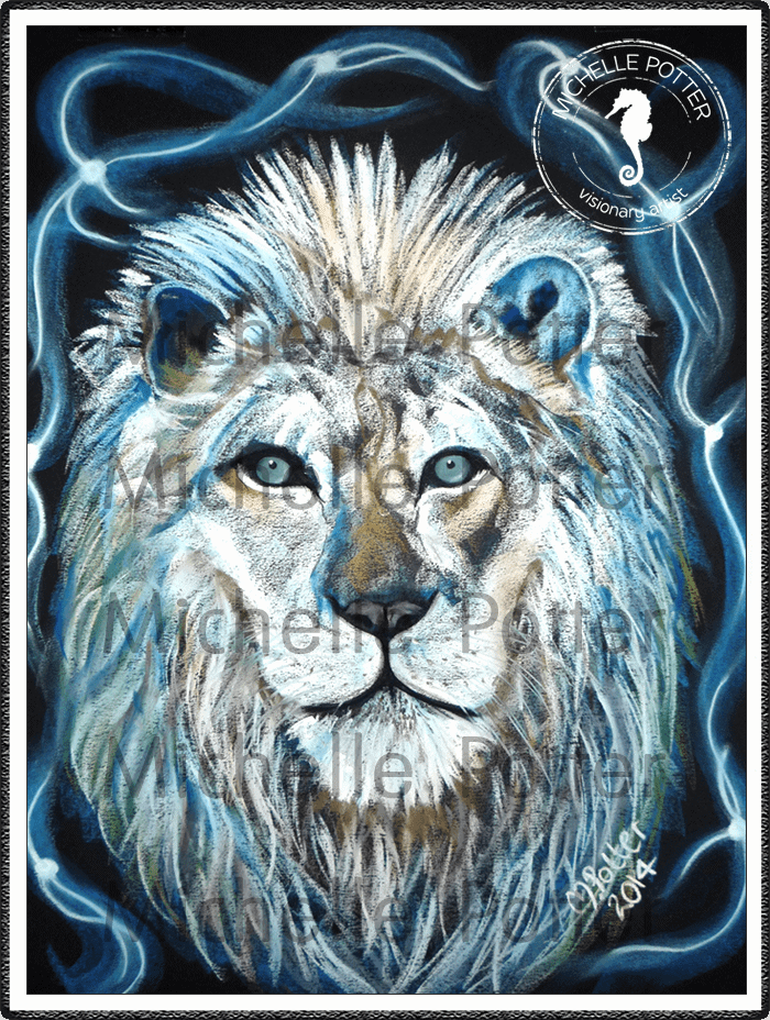 Spirit_Guide_Art_Michelle_Potter_Lion_Fire_Ice_Large