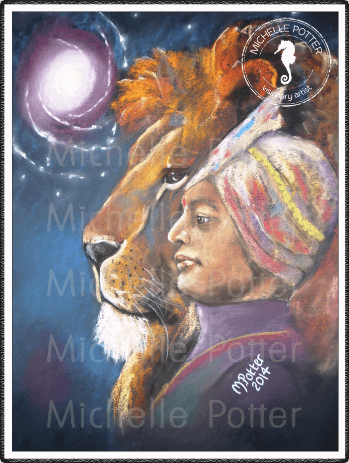 Spirit_Guide_Art_Michelle_Potter_Lion_Indian_Prince_Large