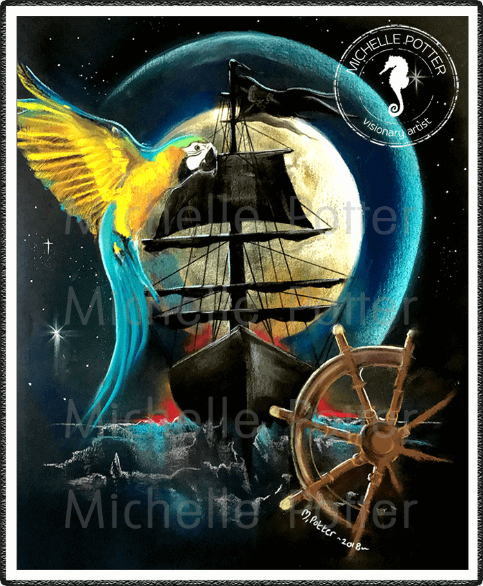 Spirit_Guide_Art_Michelle_Potter_Macaw_Pirate_Ship_Wheel_Large