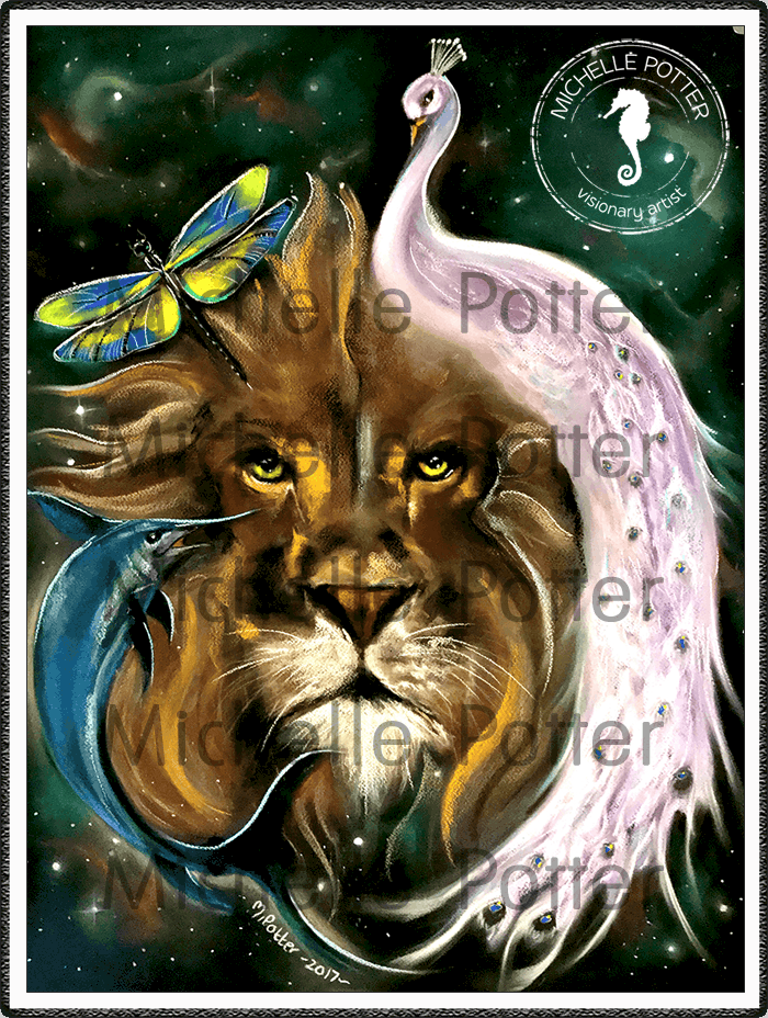 Spirit_Guide_Art_Michelle_Potter_Peacock_Lion_Dragonfly_Swordfish_Large