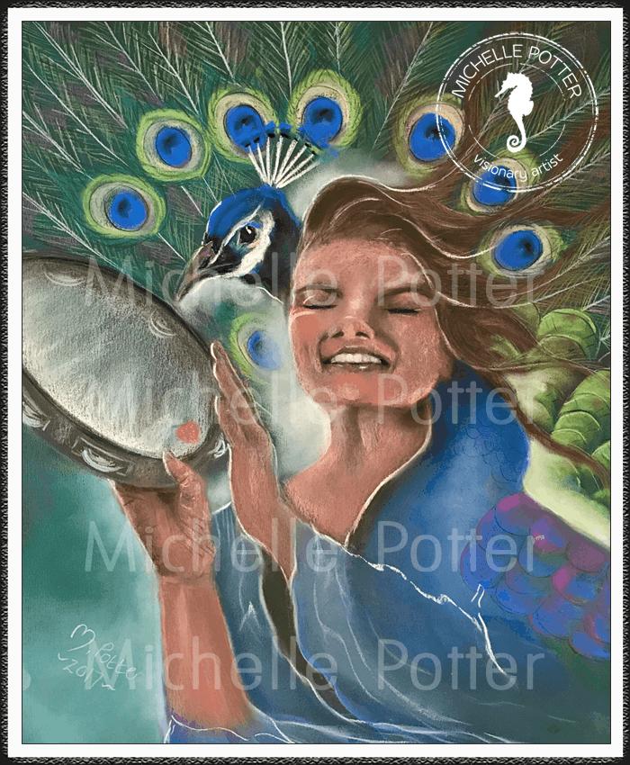 Spirit_Guide_Art_Michelle_Potter_Peacock_Tambourine_Large