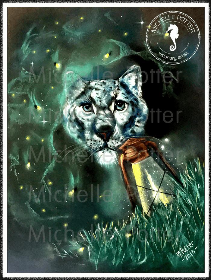 Spirit_Guide_Art_Michelle_Potter_Snow_Leopard_Fireflies_Lantern_Large