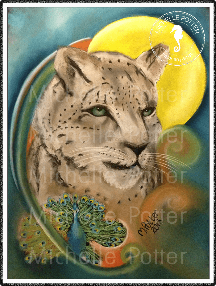 Spirit_Guide_Art_Michelle_Potter_Snow_Leopard_Moon_Peacock_Large