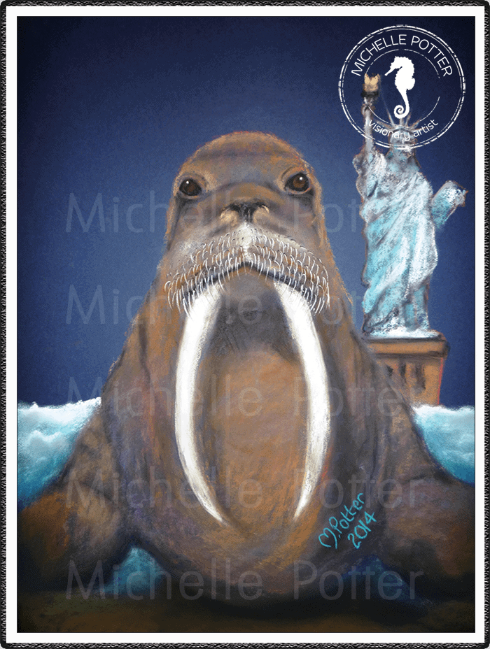 Spirit_Guide_Art_Michelle_Potter_Walrus_Statue_Of_Liberty_Large