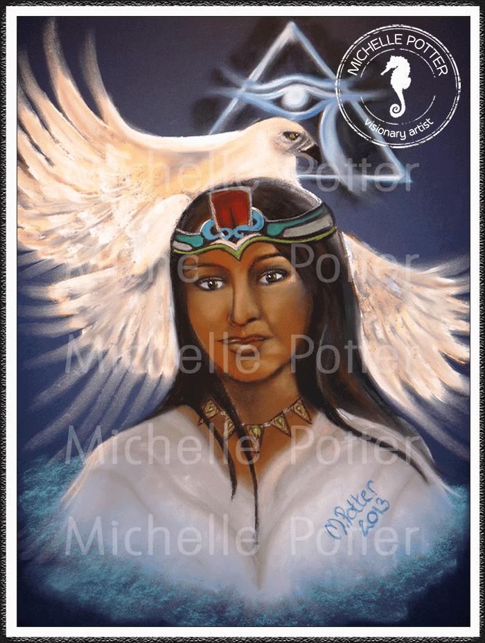Spirit_Guide_Art_Michelle_Potter_Woman_Aztec_White_Eagle_Large