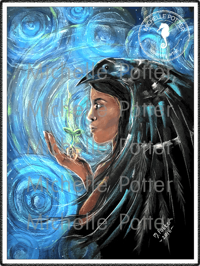 Spirit_Guide_Art_Michelle_Potter_Woman_Eirene_Raven_Large
