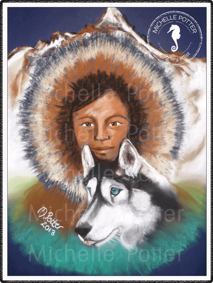 Spirit_Guide_Art_Michelle_Potter_Woman_Eskimo_Husky_Large