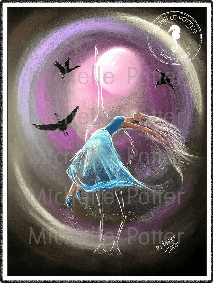 Spirit_Guide_Art_Michelle_Potter_Woman_Higher_Self_Crane_Totem_Large