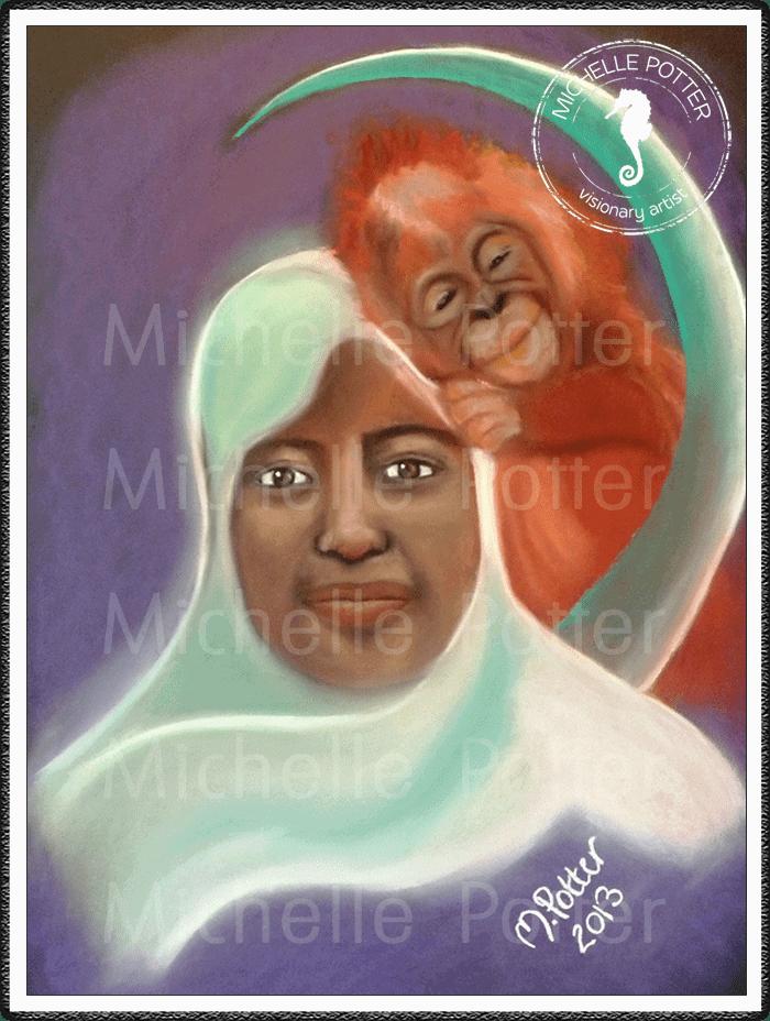 Spirit_Guide_Art_Michelle_Potter_Woman_Orangutan_Moon_Large