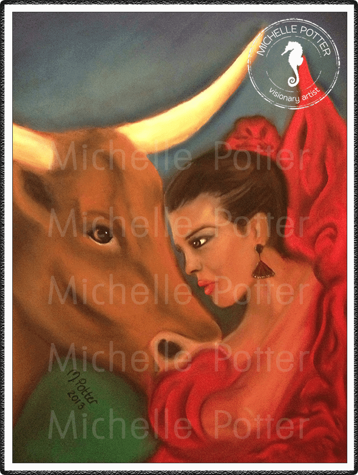 Spirit_Guide_Art_Michelle_Potter_Woman_Spanish_Steer_Large