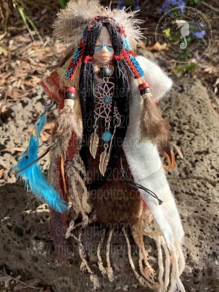 Spirit doll American Indian Born 01_05_2019 Michelle Potter Artist