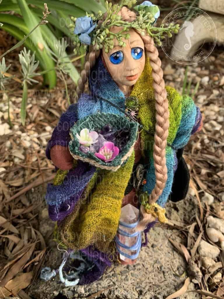 Spirit doll Blue Eyes Elemental Crystal Earth Keeper Born 14_04_2020 Michelle Potter Artist