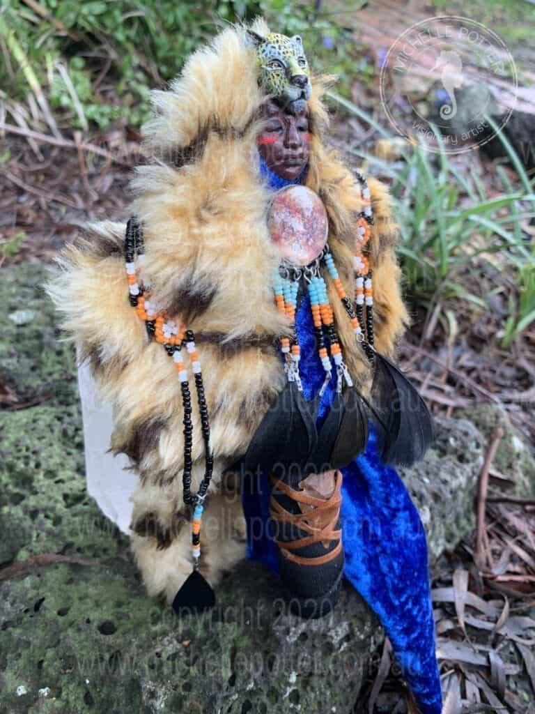 Spirit doll Elder Wise Cheetah Bear American Indian Healing Michelle Potter Artist