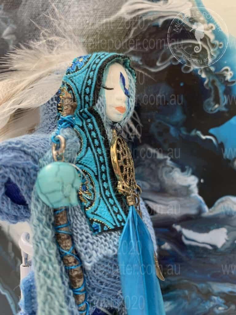 Spirit doll Elelemtal Water Blues Healing Michelle Potter Artist