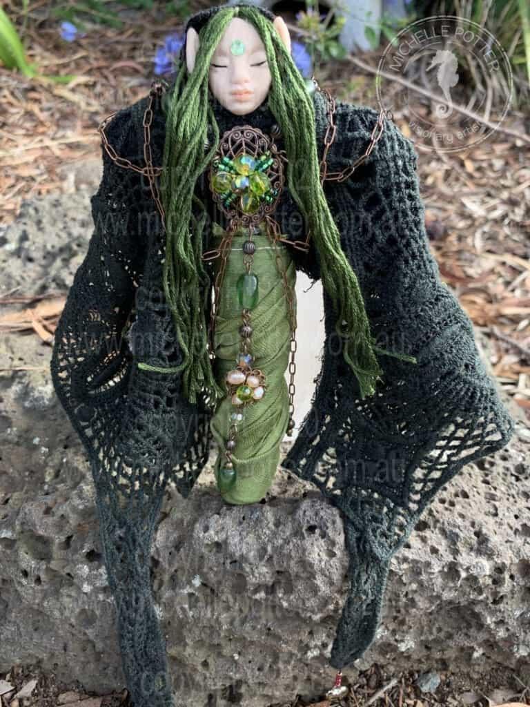 Spirit doll Elelmental Pixie Green Earth Born 06_05_2019 Michelle Potter Artist
