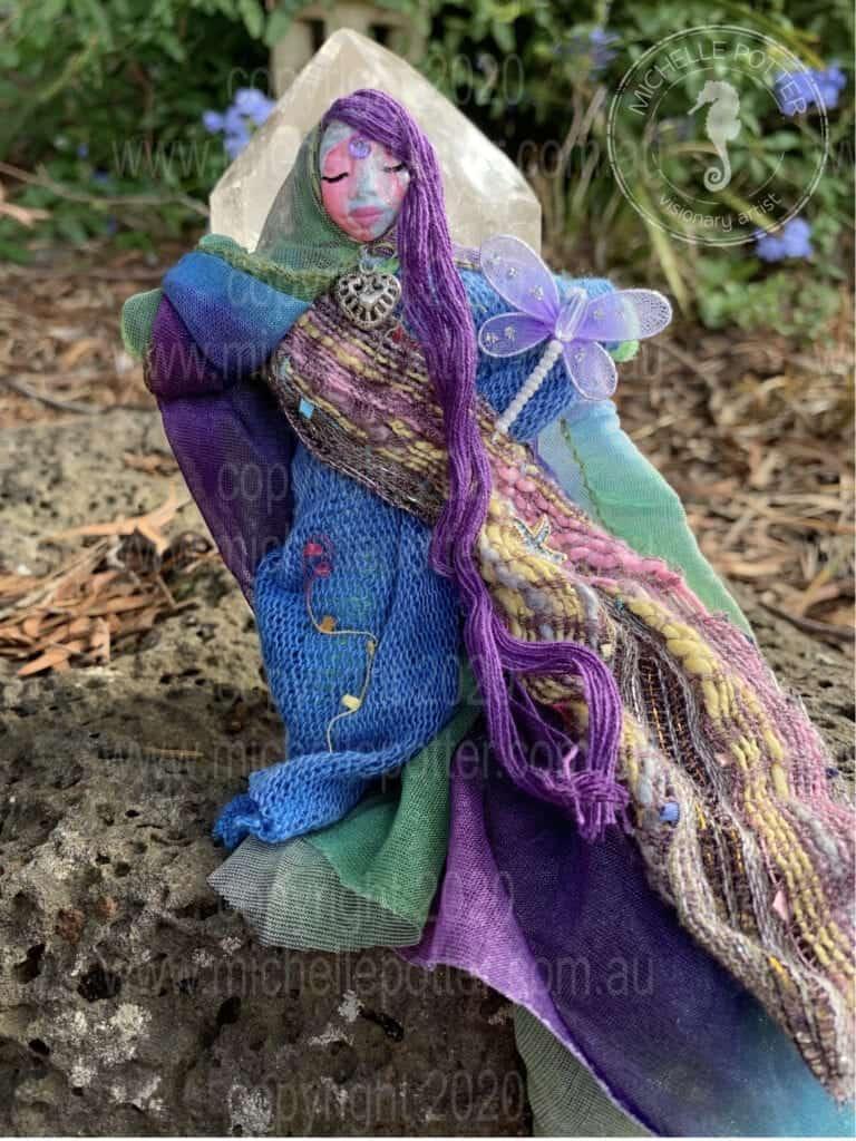 Spirit doll Elemental Butterfly Purrples Michelle Potter Artist