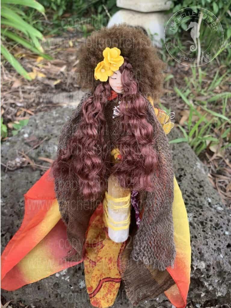 Spirit doll Elemental Citrine Yellow Orange Reiki Healing Michelle Potter Artist
