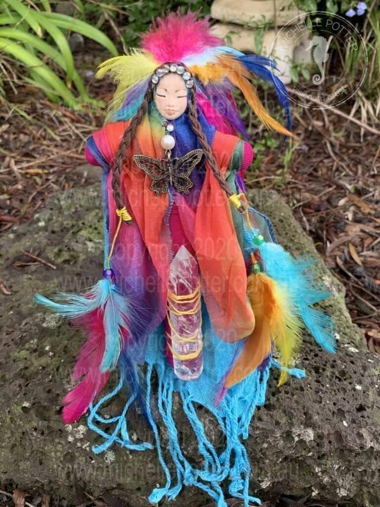 Spirit doll Elemental Colourful Artist Butterfly Healing Michelle Potter Artist
