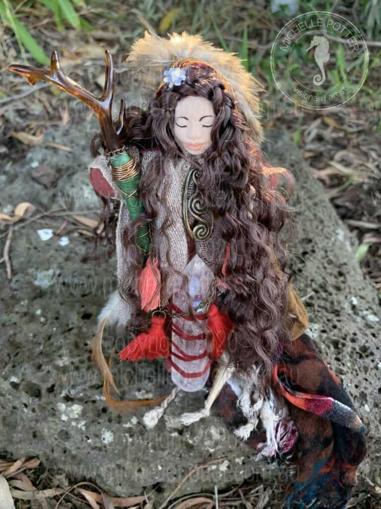Spirit doll Elemental Deer Quartz Sharman Feathers Healing Michelle Potter Artist
