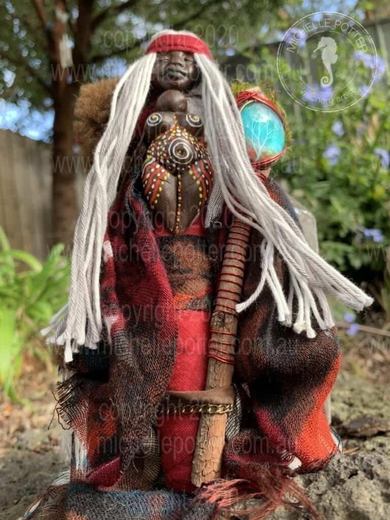 Spirit doll Elemental Elder Wise Aboriginal Earth Healing Michelle Potter Artist