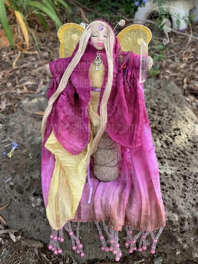 Spirit doll Elemental Failry Healing Pink Yellow Michelle Potter Artist