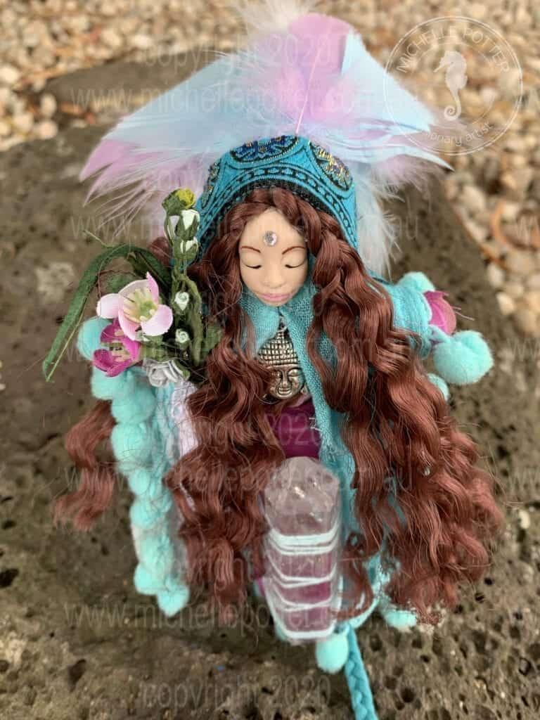 Spirit doll Elemental Feathers Crystal Magic Healing Michelle Potter Artist