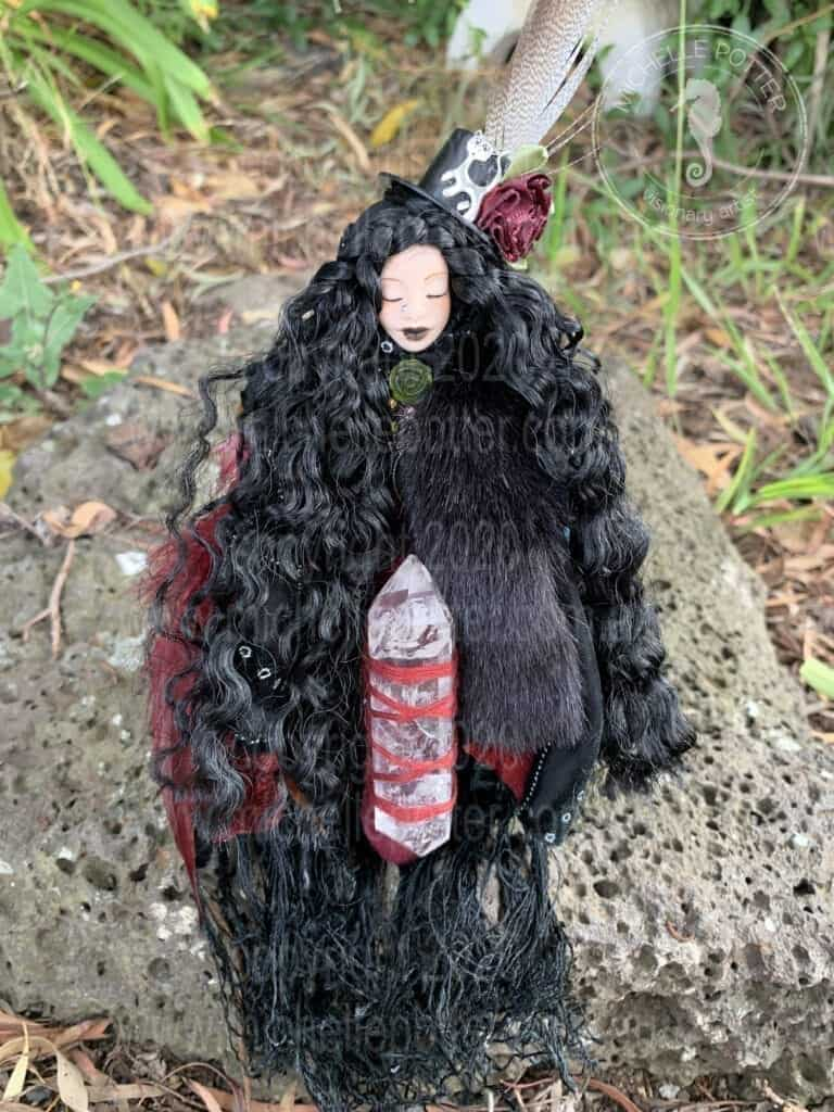 Reiki Altar Doll_Dragon_Pinks_Nature_ Elemental_Terminator_Quartz_Healing_Michelle Potter Artist