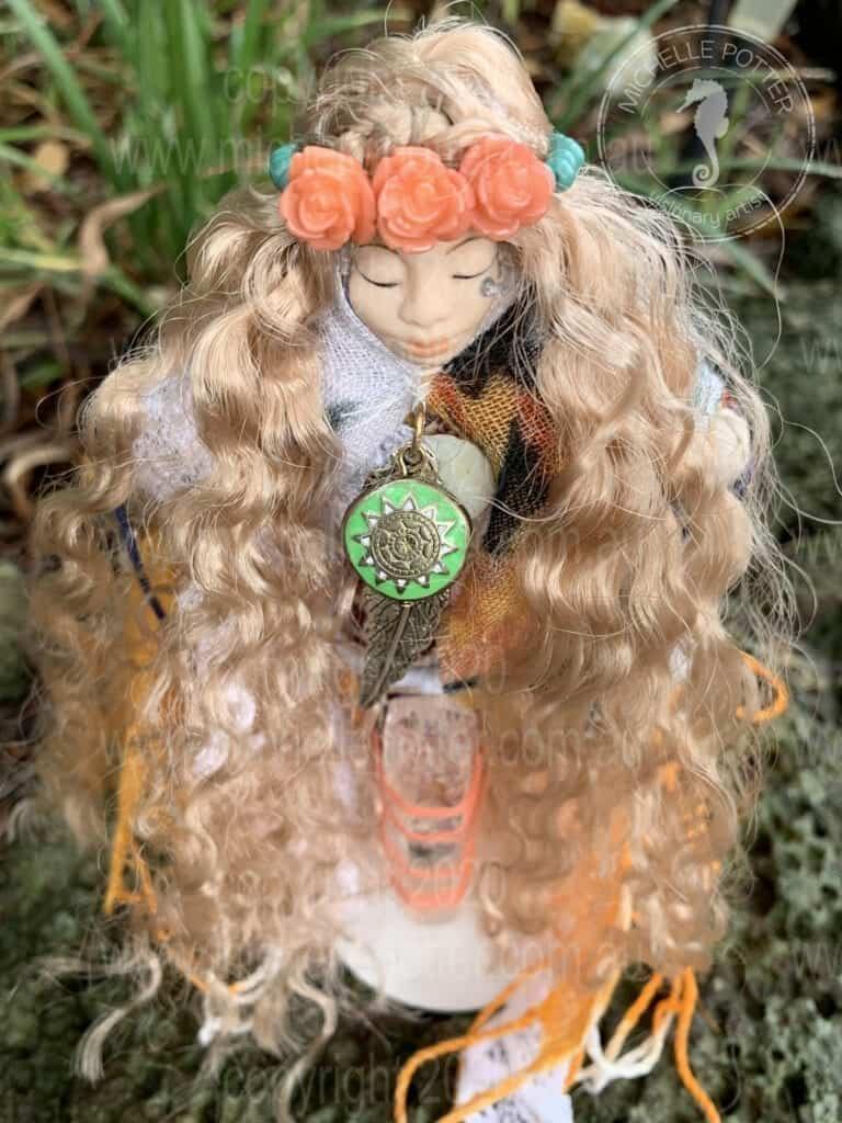 Spirit doll Elemental Hawaii Boho Healing Reiki Michelle Potter Artist
