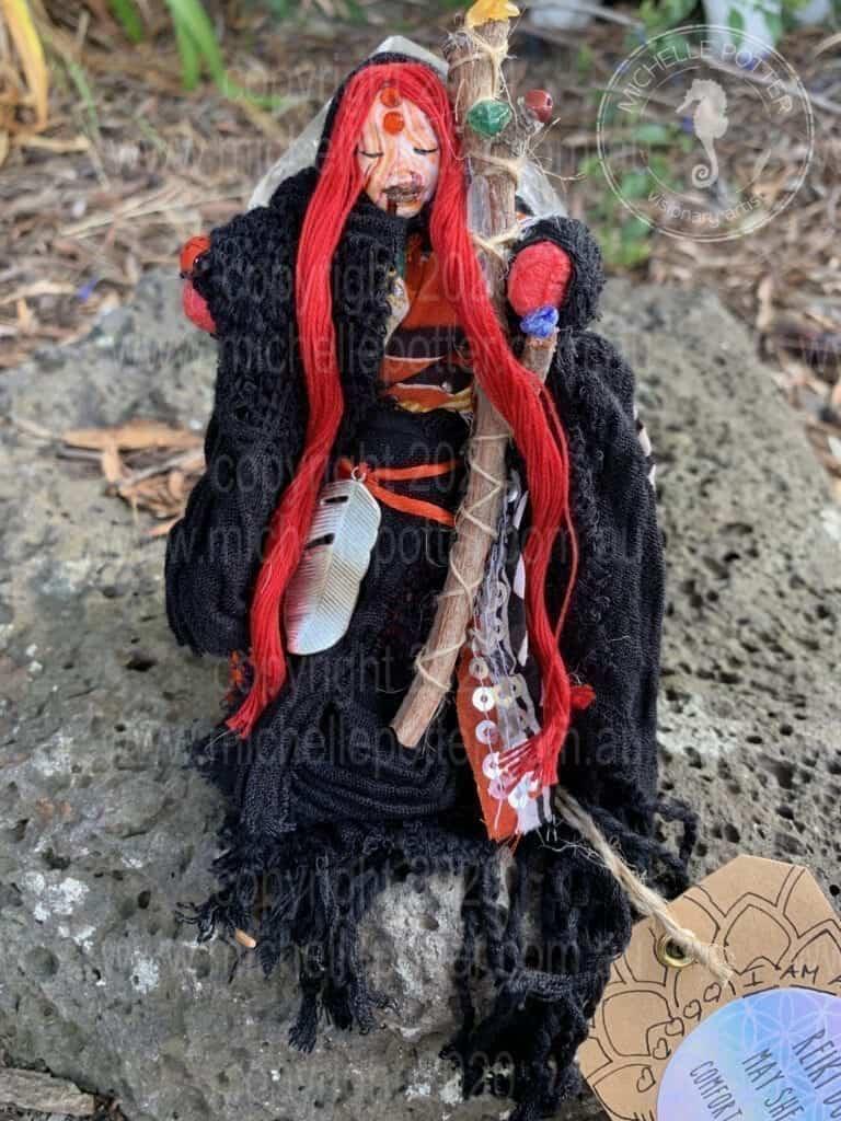 Spirit doll Elemental Reiki Healing Red Black Michelle Potter Artist