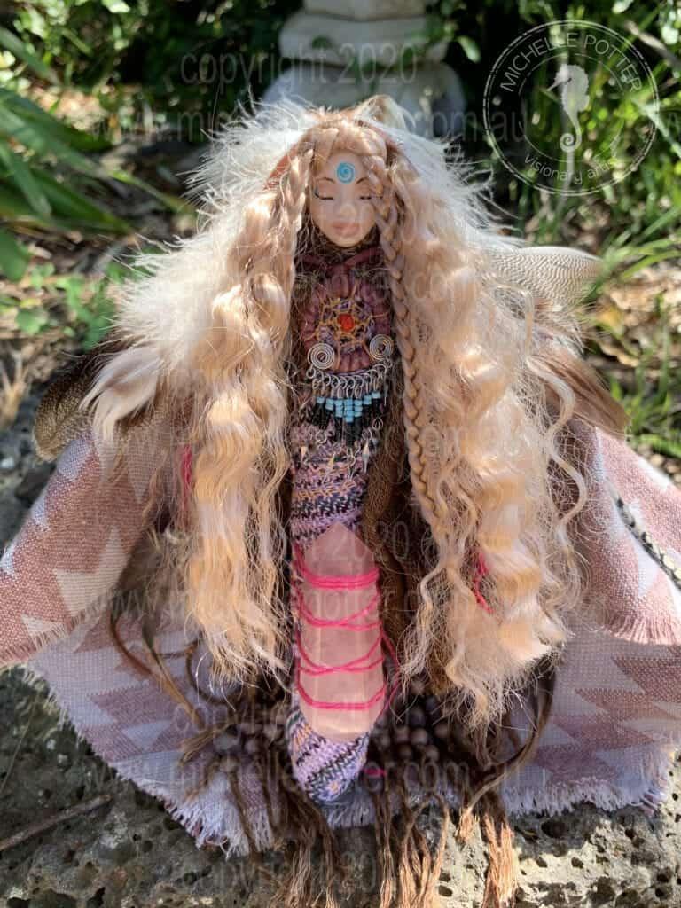 Spirit doll Elemental Visionary Reiki Sharman Healing Feathers Rose Quartz Michelle Potter Artist