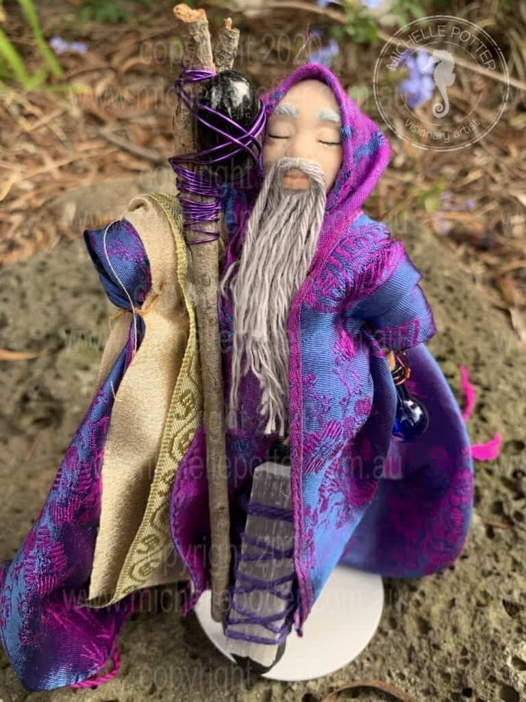 Spirit doll Elemental Wise Magic Reiki Male Healing Michelle Potter Artist