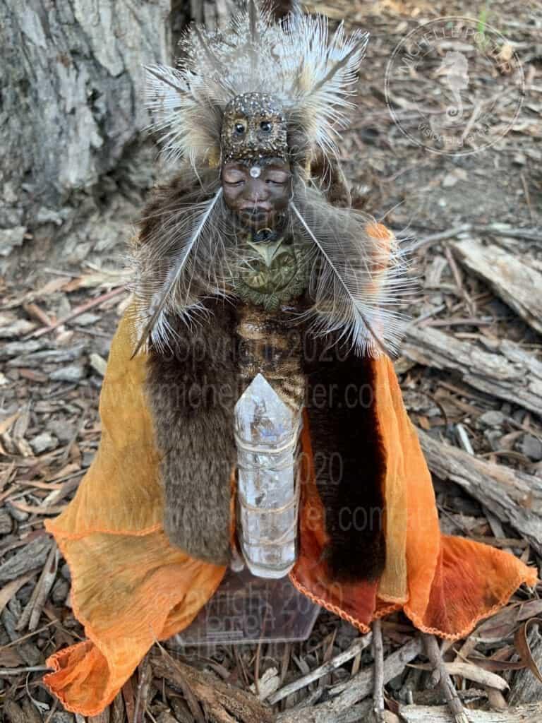 Spirit doll Elemental Wise Owl Totem Feathers Orange Healing Michelle Potter Artist