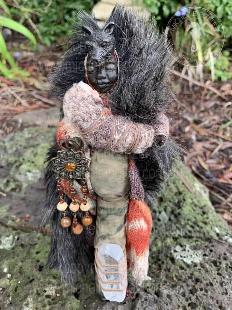 Spirit doll Mother Wise Earth Nature Wolf Totem Motherhood Healing Michelle Potter Artist
