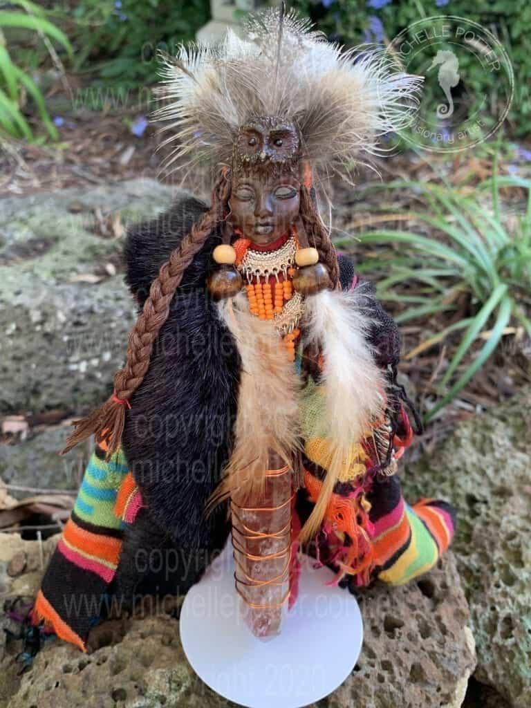 Spirit doll Sharman Owl Totem Healing Michelle Potter Artist